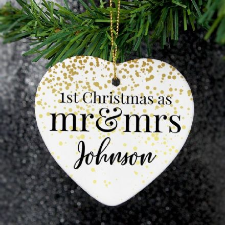 Mr and Mrs 1st Christmas Ceramic Heart Decoration